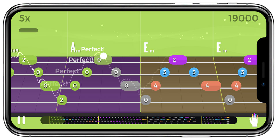 Tablature layout in Yousician's ukulele learning app