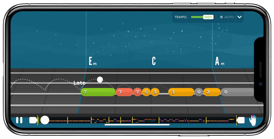 Tablature layout in Yousician's bass learning app